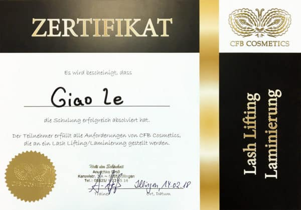 Zertifikat CFB Cosmetics