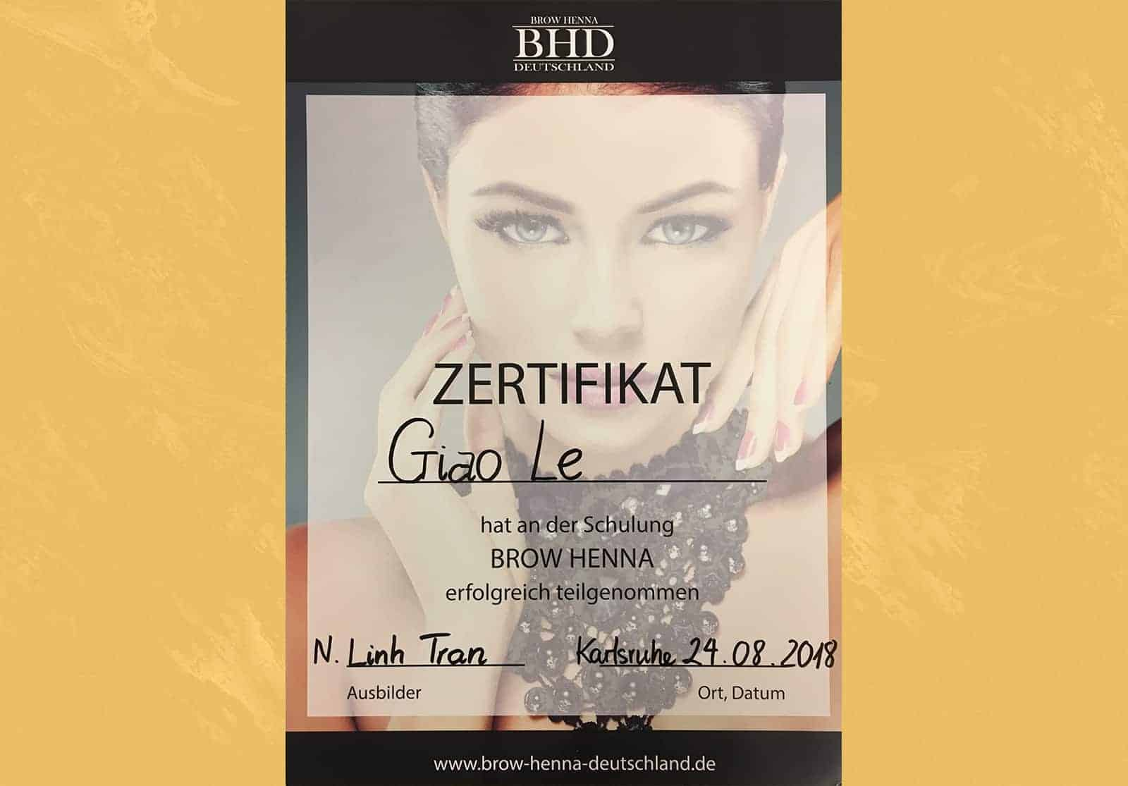 Zertifikat Brow Henna Deutschland